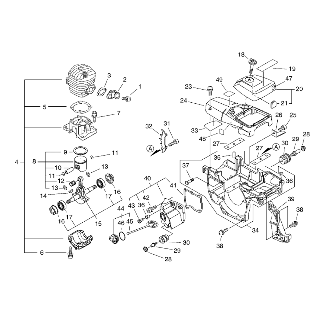 piston cylindre    carter moteur  tron u00e7onneuse echo cs450