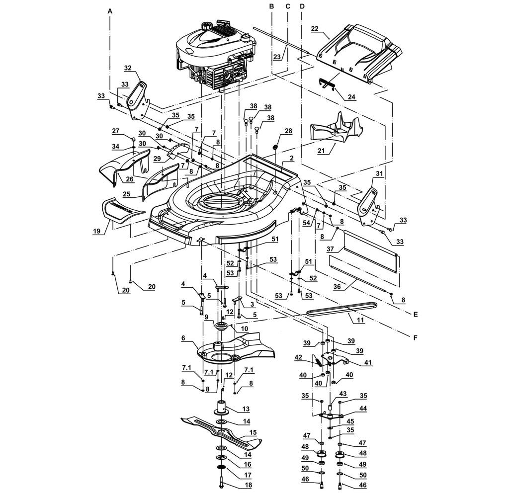 chassis  tondeuse weibang wb536sb 3 en 1