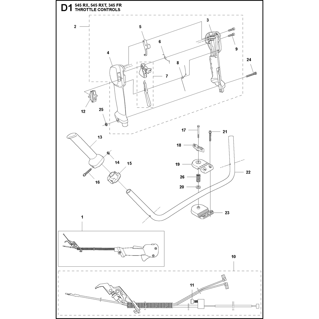 manette de gaz d broussailleuse husqvarna 545 rx. Black Bedroom Furniture Sets. Home Design Ideas