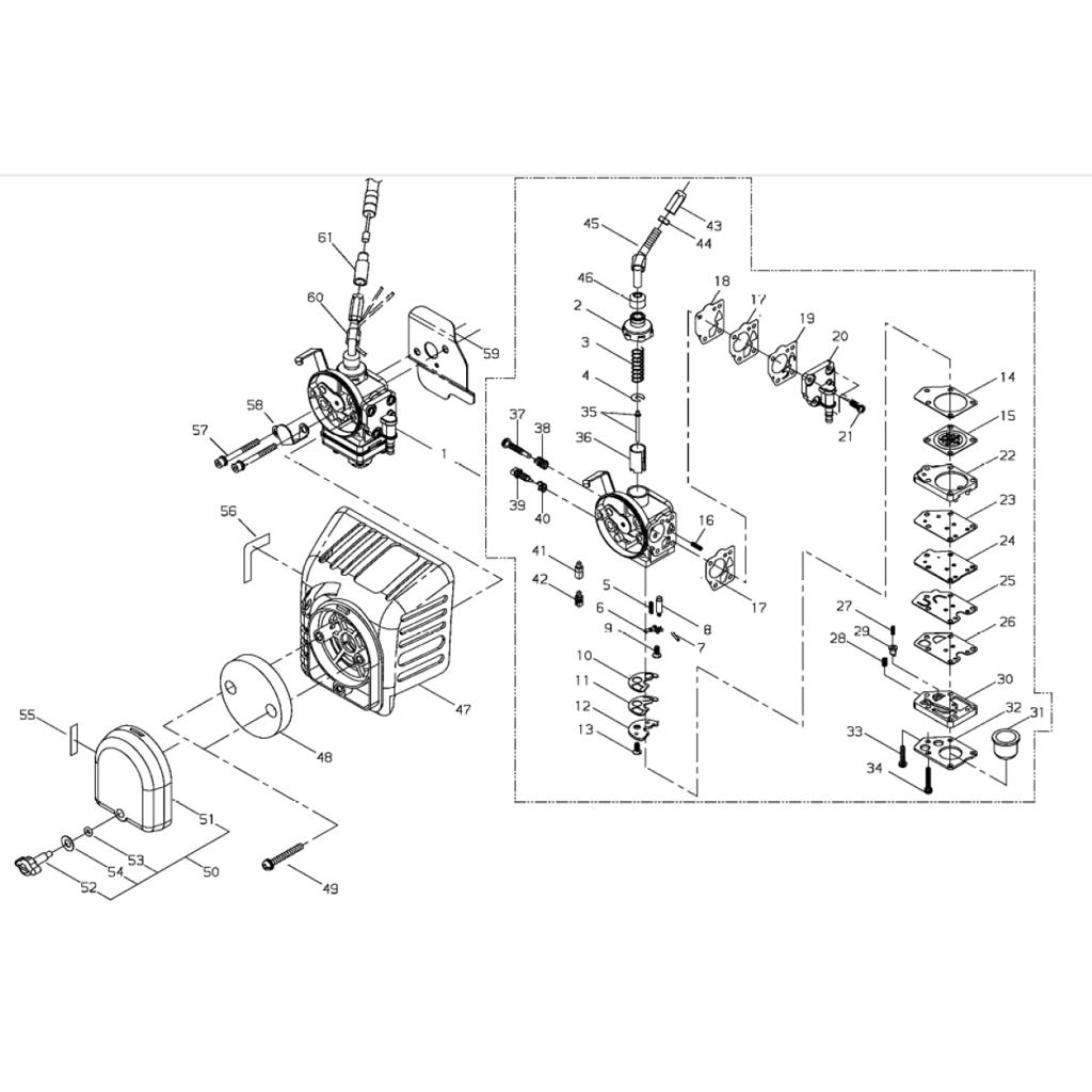 Carburateur filtre air d broussailleuse shindaiwa b450 - Reglage carburateur a membrane ...