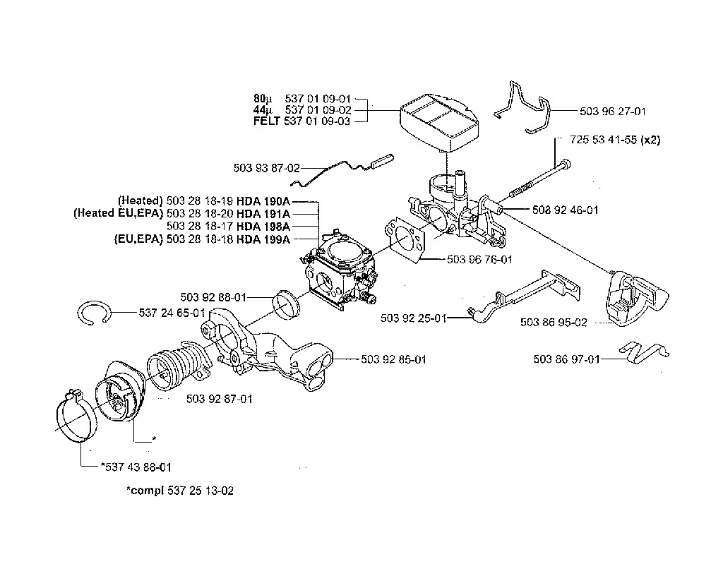 carburation tron onneuse husqvarna 357 xp et 359. Black Bedroom Furniture Sets. Home Design Ideas